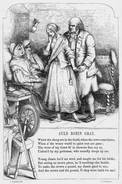 AULD ROBIN GRAY British ballad of Scottish origin written by Lady Anne Barnard (1750-1825) Old Robin Gray marries a young girl whose lover is thought to be dead, but who turns up to claim her a month after...unlucky!