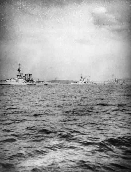 British battle cruisers at sea, from left to right HMS Tiger, HMS Princess Royal and HMS Lion, during the First World War. Date: 1914-1918