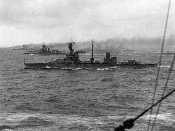 British battleships at sea during the First World War, including HMS Agincourt, a dreadnought, in the foreground. Date: 1914-1918