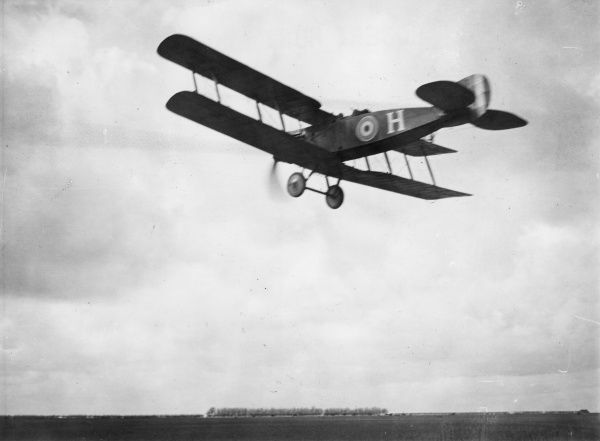 A British Bristol fighter plane of No. 22 Squadron RAF flying over Vert Galant aerodrome, northern France, during the First World War. Date: April 1918