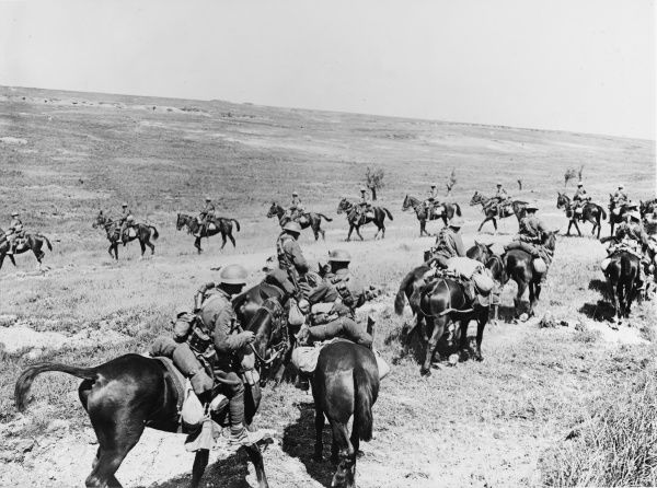 British cavalry on the Western Front in France during World War I in 1918