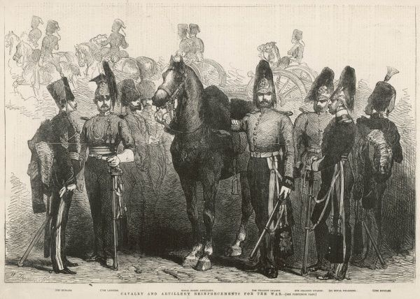 Engraving showing officers of the 8th Hussars, 17th Lancers, Royal Horse Artillery, 5th Dragoon Guards, 4th Dragoon Guards, 1st Royal Dragoons and 11th Hussars in their dress uniforms, with plumed helmets, 1854. At the time, these units were heading