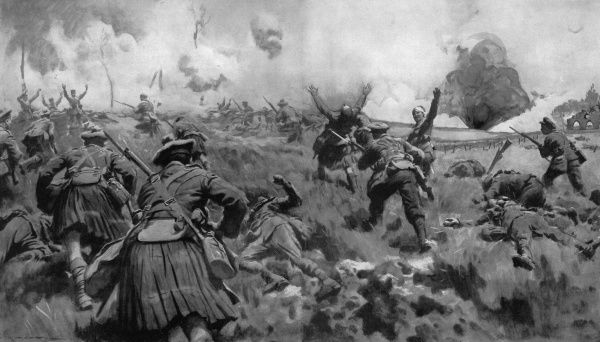 Illustrations showing a charge by soldiers of the Liverpool and Scottish regiments to recapture a trench taken by the Germans who took it by using flame-projectors to spray fire