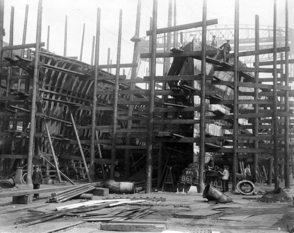 British destroyers under construction at a shipyard during the First World War. Date: 1917
