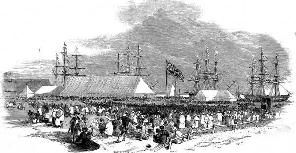 Engraving showing the British emigrants and their ships who set out to settle in Canterbury, New Zealand, in September 1850