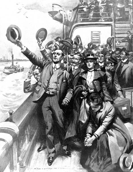 Illustration showing a group of British emigrants standing on the deck of their ship, waving goodbye to Britain, 1903