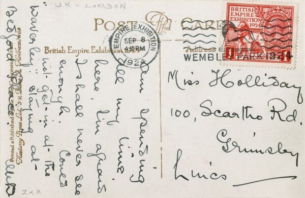 The reverse of a postcard sent from the British Empire Exhibition of 1924, held at Wembley Park, London, showing the official exhibition stamp and event postmark!