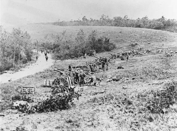 Battery of 75mm guns in action at Longpont (Aisne) on the Western Front in France during World War I on 18th July 1918