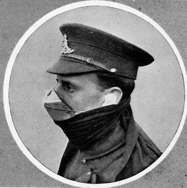 A British soldier wearing a respirator or gas-mask with an air-valve on the top. The Germans first used poisonous gas at Ypres on April 22nd 1915, defying the Hague Convention treaty of 1907 which they had signed