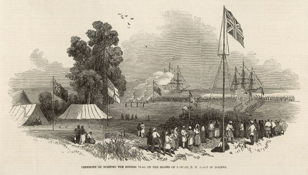 Ceremony of hoisting the British flag on the island of Labuan,southwest coast of Borneo