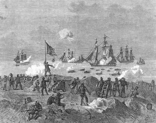A British attempt to land troops on American soil is repulsed by American shore defences Date: 1812