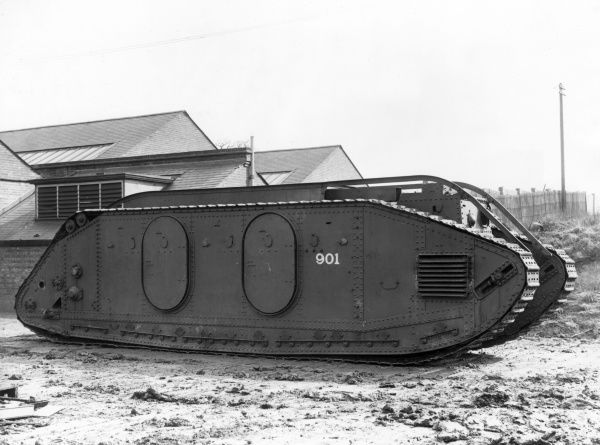 A British Mark IX or supply tank, designed in 1917 as a non-fighting tank used for carrying supplies or men through a fire zone