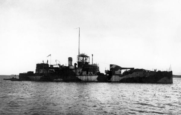A British monitor (small warship) in the Suez Canal during the First World War. Date: 1914-1918