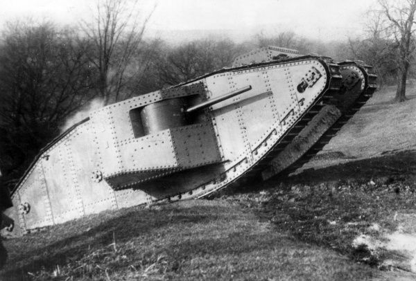 "British ""Mother"" or ""Big Willie"" tank being tested at Burton Park, Lincoln, during the First World War"