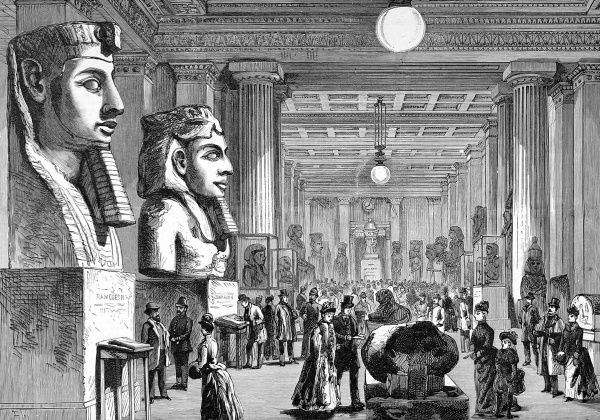 Engraving showing one of the galleries of the British Museum, 1890. Electric lighting had just been installed in the museum, allowing visiting hours to be extended into the evenings for the first time in January 1890
