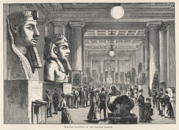 British Museum interior of the Egyptian gallery from 1890. Electric lights enabling the museum to be opened to the public in the evenings