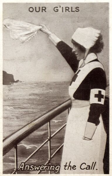 'Our Girls' - Answering the Call A Young British girl sets out across the English Channel en route to the horrors of the Western Front, to do her bit for the war effort as a Red Cross nurse Date: circa 1915