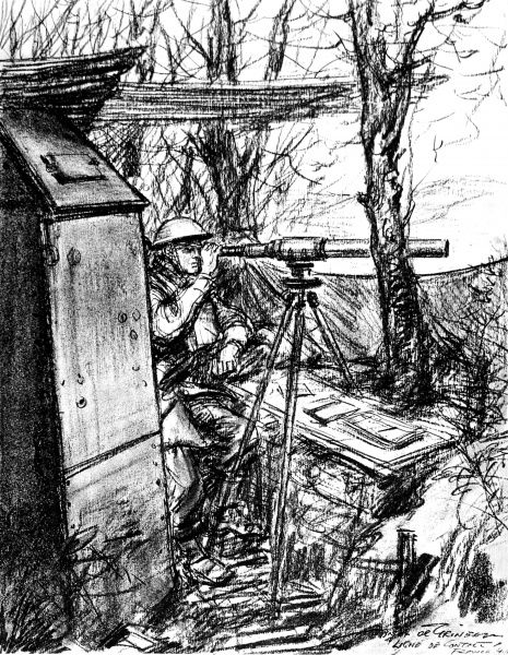 Drawing showing an advanced Observation Post in the British sector of the Maginot line, March 1940. This observer, using a telescope, was watching the German positions and noting all enemy movement and artillery activity