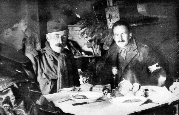 British Officers at their meal in a trench shelter or dug out