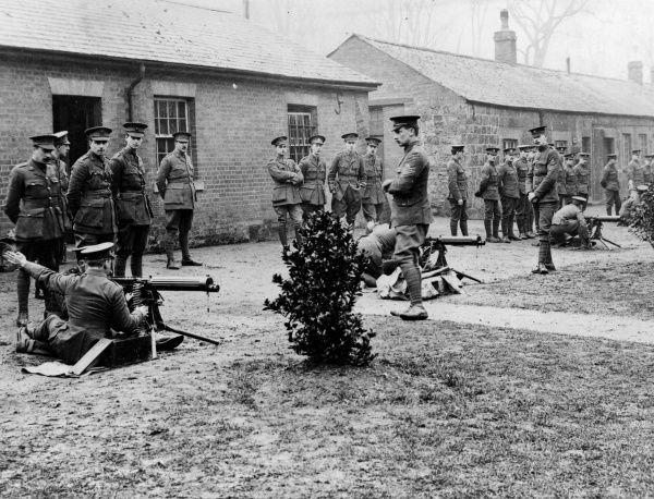 British officers undergoing machine gun training at the School of Musketry, Hythe, Kent, during the First World War. Date: 1914-1918