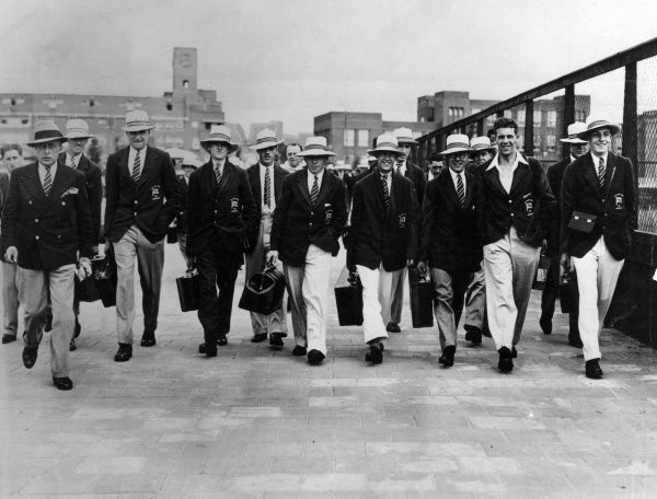 The British Olympic team on the way to the Stadium. Date: 1928