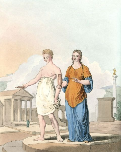 Two Roman-British priestesses in their temple precinct : the one on the left wears the ancient style of costume, her companion a more Romanised gown and tunic. Date: early centuries AD