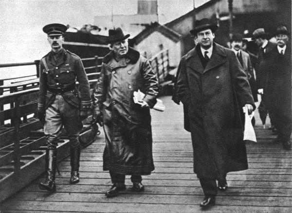 The British Prime Mininster Herbert Asquith (1852-1928) arriving in Kingstown, Ireland accompanied by his private secretary