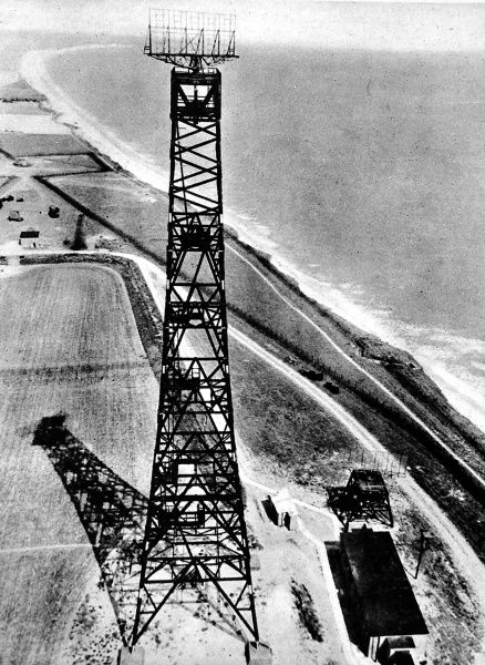 Photograph showing a 'Chain Home Low' radar station on the coast of Britain, during the Second World War, c.1945