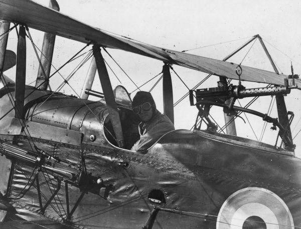 A British Royal Aircraft Factory RE8 two-seater biplane with the pilot in the cockpit, used by the Royal Flying Corps for reconnaissance and bombing during the First World War. It had a 150hp RAF 4a engine. Date: 1916-1918