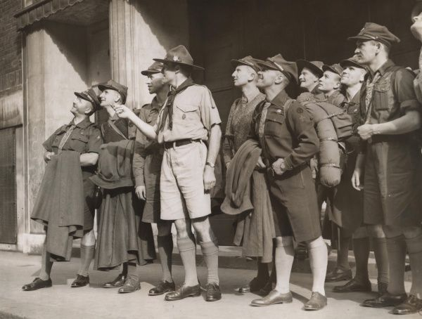 British Scout leader with Polish Scout leaders, circa 1930s. circa 1930s