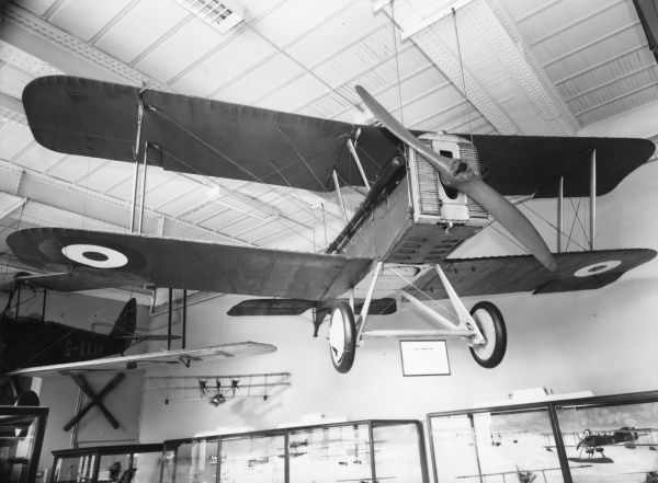 A British SE5A biplane, one of the main aeroplanes in use by the Royal Flying Corps during the First World War. Seen here on display in a museum. Date: 1914-1918