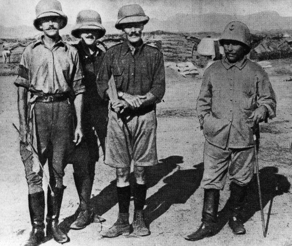 British soldiers at Gama, Cameroon, west central Africa, during the First World War, from left to right: Major Wright, Lieutenant Cook, General Cunliffe, Lieutenant Colonel Briscet(?)