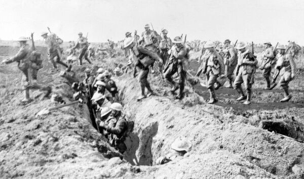 British soldiers on the Western Front during the First World War, in and around a trench. Date: 1914-1918