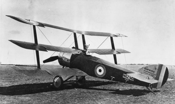 A British single-seater Sopwith triplane on an airfield during the First World War. Date: 1916-1918