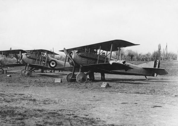 British Spad VII fighter biplanes on an airfield during the First World War. Date: 1916-1918