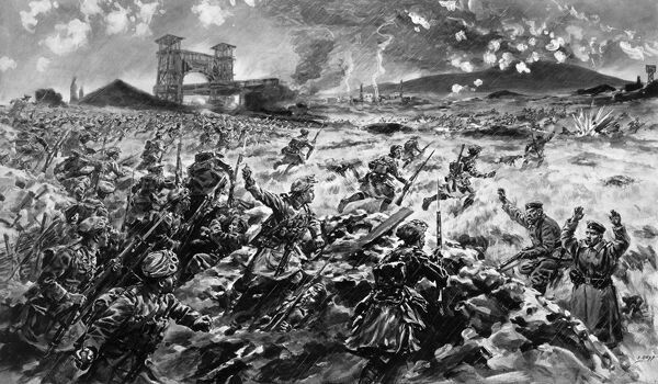 An illustration showing British troops charging over German trenches at the Battle of Loos