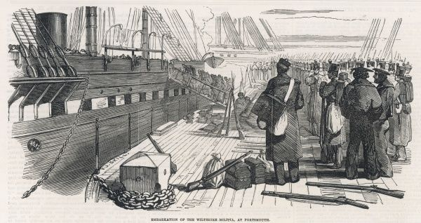 At Portsmouth, men of the Wiltshire Militia go aboard ship for the Crimea