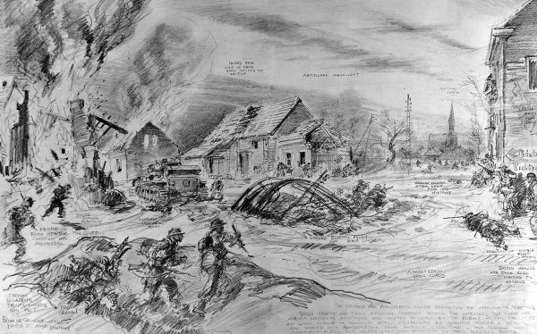 Sketch showing British infantry fighting off German paratroops at Aanderberg Crossroads, Holland, January 1945. On the left of the image is a disabled British 'Cromwell' tank, in the centre a wrecked electric pylon and on the right the German forces