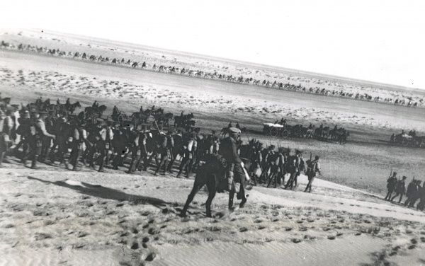 British troops of the 1/11th London Regiment, 162nd Infantry Brigade, 54th East Anglian Division (Desert Column) marching to El Arish, North Sinai, Egypt, during the First World War