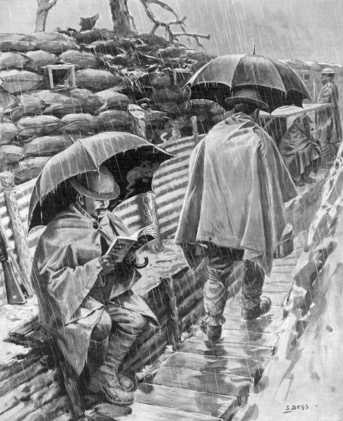 Illustration of British soldiers sheltering from the rain beneath their umbrellas in the trenches