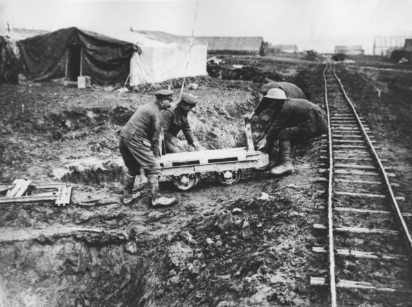 British troops working on a light railway during the First World War. Date: 1916