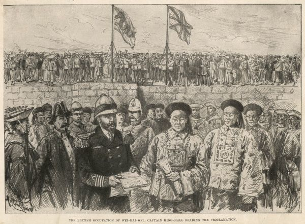 The British occupation of Wei-Hai-Wei : Captain King-Hall reading the Proclamation