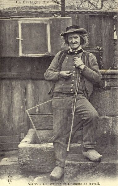 Brittany, Northern France - Fine portrait of a Farmer in his working clothes Date: circa 1903