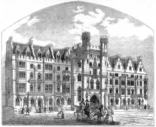 Engraving showing the exterior of some then new housing in the Broad Sanctuary, Westminster, 1854