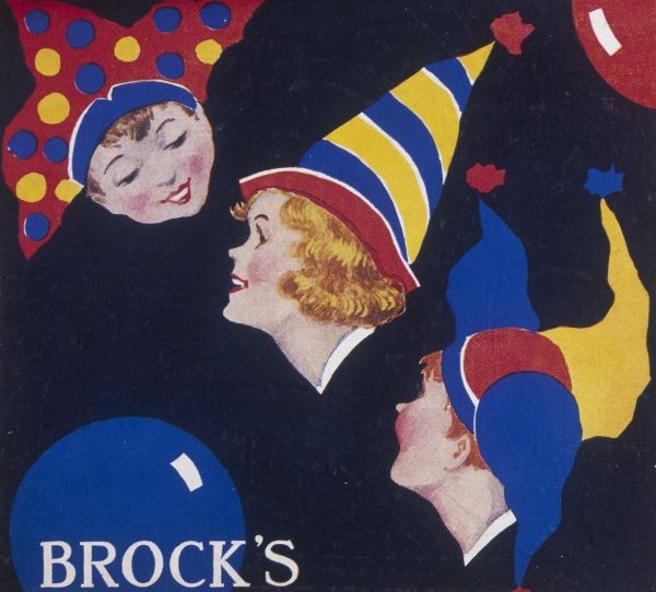 Label for a box of Brocks Christmas crackers featuring the heads of three children wearing brightly coloured party hats