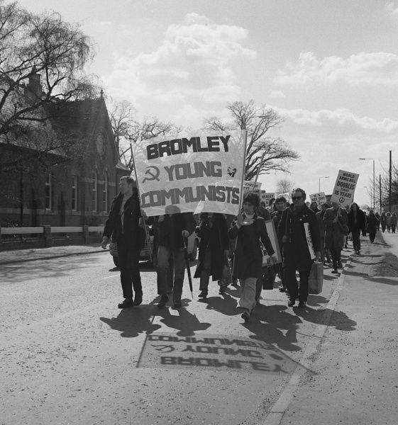 Bromley Young communists taking part in a CND march in Horley, Surrey