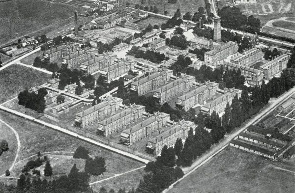 Aerial view of the Brook Hospital, Shooter's Hill, south east London. The Brook was one of the fever hospitals opened by the Metropolitan Asylums Board between 1870 and 1900 for the sick poor in metropolitan London