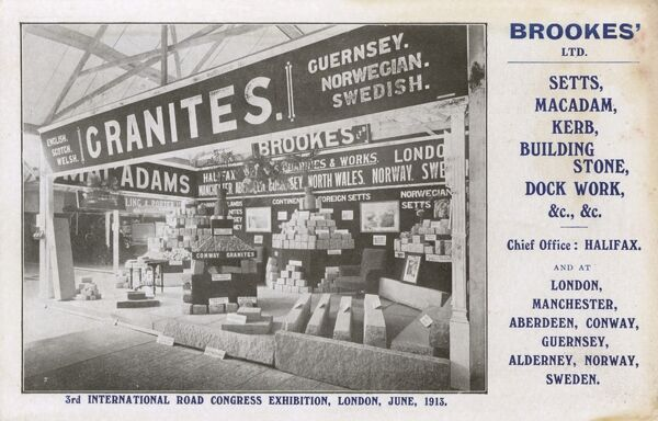 Stall for the European granite of Brookes' Ltd. of Halifax at the 3rd International Road Congress Exhibition, London - June 1913. Brookes' were also sellers of setts (shaped pieces of rock used to make hard surfaces for roads), macadam