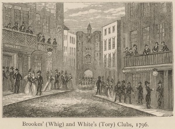 Wealthy gentlemen patronise the exclusive Brookes'(Whig) and White's(Tory) Clubs, at Pall Mall, London. Brookes' is shown on the right, and Whites' on the left of the street(the Artist's perspective is slightly faulty.) St