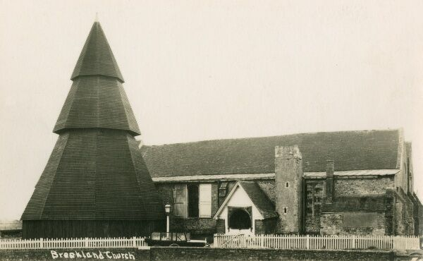 Brookland Church, Brookland, Kent on Romney Marsh, with its remarkable wooden, shingle-clad, octagonal belfry detached from the main structure of the church